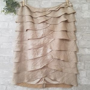 Adrianna Papell gold tiered ruffled skirt